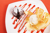 Chocolate pudding with ice cream — Stock Photo