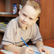 Little boy draws with pencils in a notebook — Stockfoto