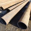 Iron big-diameter pipes for construction — Stock Photo #14445417