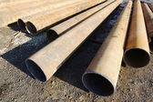 Iron big-diameter pipes for construction — Stock Photo