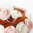 Cake with cream decorative roses — Stock Photo