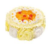 Cake with orange jelly isolated over white — Stock Photo