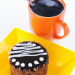 Round biscuit cake with cup of coffee - Stock Photo