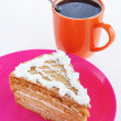 Triangle cake with cup of coffee - Stock Photo