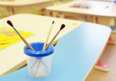 In a room for painting in kindergarten — Stock Photo