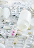 Used packs of tablets and pills — Stock Photo