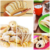 Collage of breakfast with bakery — Stock Photo