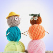 Happy Family. Photo With Toys Made Of Balls Of Yarn — Stock Photo