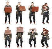 Man With Suitcase In Various Poses — Stock Photo