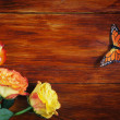 Corner Made of Roses and Butterfly on a Wooden Surface — Stock Photo