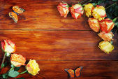 Wooden Background Decorated with Flowers — Stock Photo