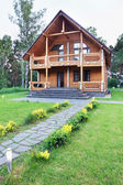 Big Wooden House Made of Logs Near of Forest — Stock Photo