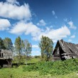 Ruins of an old wooden house in Russian village — Stock Photo