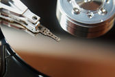 Close up of hard disk into personal computer — Stock Photo