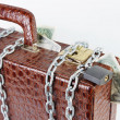 Suitcase full of money is chained with a locked padlock — Stock Photo