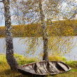 Autumn riverbank with old boat — Stock Photo