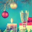 Christmas still life against the blue background — Stock Photo #35178527