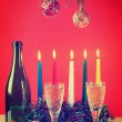 Christmas still life against the red background — Stock Photo #35380151