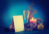 New Year still life with a blank postcard — Стоковое фото