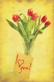 Boeket van tulpen in de vaas — Stockfoto