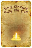 Grunge old paper with Christmas and New Year greeting — Stock Photo