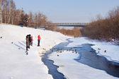 Embankment of Iskitimka river in Kemerovo city — Stock Photo