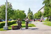 памятник в 6 вечера, после войны в городе кемерово — Стоковое фото