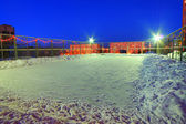 Skating rink in the yard of the house in Kemerovo city — Foto Stock