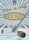 Poster Time to play hockey — Stock vektor