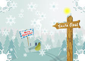 Winter Christmas scene with signpost to Santa Claus — Stock Vector