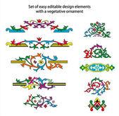 Set of easy editable design elements with vegetative ornament — Stock Vector