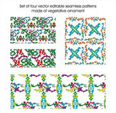 Set of four vector editable seamless patterns made of vegetative ornament — Stock Vector
