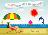 Summer vocation on the seaside — Stock Vector