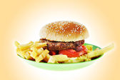 Hamburger with French fries on the green plastic plate — Stock Photo
