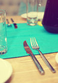 Cutlery on the table in cafe — Stock Photo