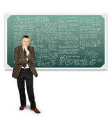 Scientist mathematician near chalkboards with formulas — Stock Photo