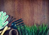 Garden tools over wooden background — ストック写真