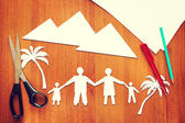 Paper scraps about family vacation — Stock Photo