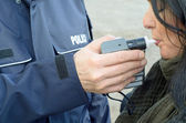 Examination of sobriety by a policeman — Stock Photo