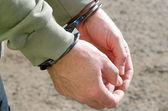 Man handcuffed criminal police — Stock Photo
