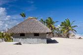 Palm blad dak bungalow op het tropisch strand — Stockfoto