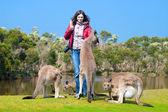 Beautiful young woman feeding kangaroos in Phillip Island Wildli — Stock Photo