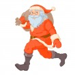 Santa Claus running with sack of gifts — Stock Vector #51016207