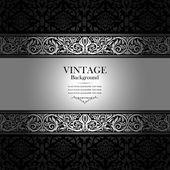 Sfondo vintage, vittoriano, antico ornamento d'argento, nero — Foto Stock