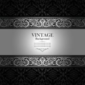 Vintage background, antique, victorian silver ornament, black — Photo