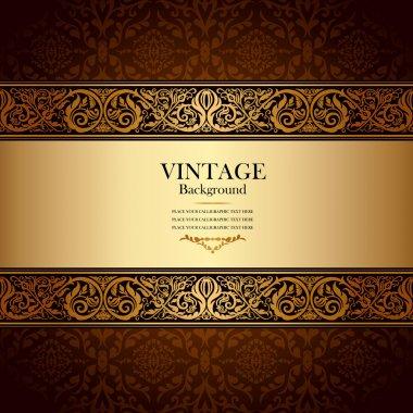 Vintage background, antique, victorian gold ornament, baroque