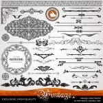 ornamenti d'epoca e divisori, elementi di disegno calligrafico — Foto Stock