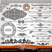 Ozdoby vintage i dzielniki, kaligraficzne elementy projektu — Zdjęcie stockowe