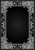 Vintage black background, antique white frame, victorian ornamen — Stock Vector
