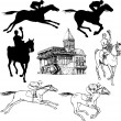 Silhouettes and graphic sketches of horses and jockeys, vintage - Stock Vector